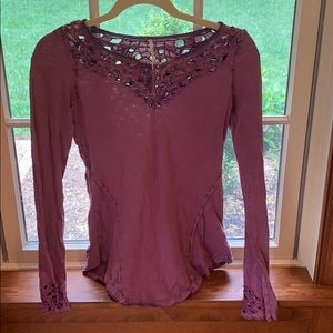 Free People Purple long sleeve shirt